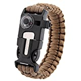 Inlife 5 in 1 Outdoor Survival Thermometer Knitted Survival Bracelet Flint/Whistle/Fire Starter Scraper (KHAKI)