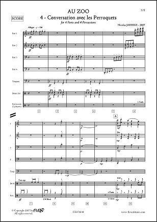 Descargar Libro PARTITURA CLASICA - Au ZOO - No. 4 - Conversation avec les Perroquets - N. JARRIGE - Wind Band de Unknown