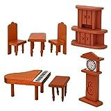 Eyepower Puppenhaus Möbel Set Klavier Puppenmöbel Holz Puppen Zubehör Braun