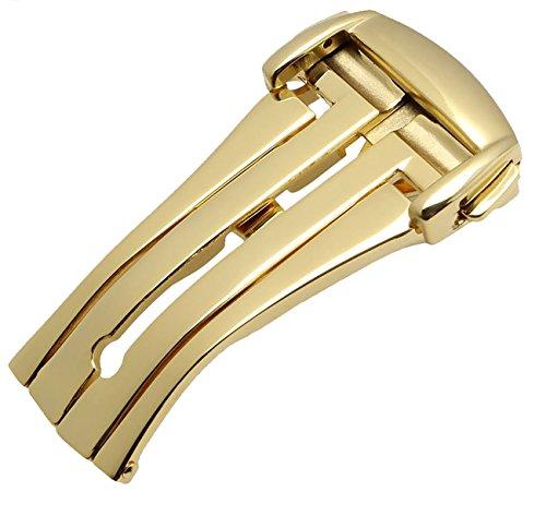 New oro, 18 mm, in acciaio INOX, chiusura con fibbia, per diffusione Omega Seamaster