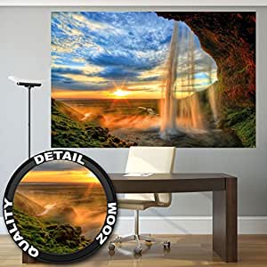 Cascata al tramonto - XXL quadro murale waterfall sunset by GREAT ART (210 x 140 cm)