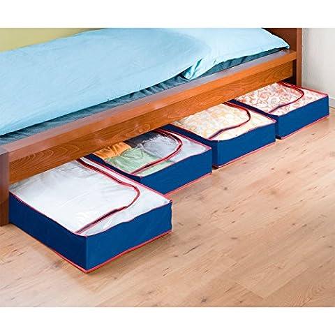WENKO Housse dessous de lit Deep Blue, set de 4 - Bleu / rouge