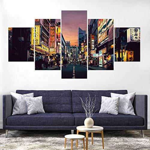 YIJUJIA 5 Teilig Gemälde Bilder Leinwandbild Kunstdruck Modern Wandbilder Wanddekoration Design Wand Bild Poster Mode Geschenke-Tokio Japan Stadt-Mit Rahmen