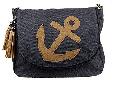 44135f41bdb33 yourlifeyourstyle Damen Canvas Tasche aufgenähte Patches Anker 2 Troddeln -  Umhängetasche - Vintage Look (Anker