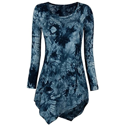SUCES Damen Lose Asymmetrisch Sweatshirt Pullover Bluse Oberteile Oversized Tops Langarm T-Shirt Hem Tunika Stretch Floral Splice Printing Rundhals Pullover Bluse Tops T-Shirt (2XL, Blue) (Stretch-shirt Baumwolle Gestreiftes Aus)