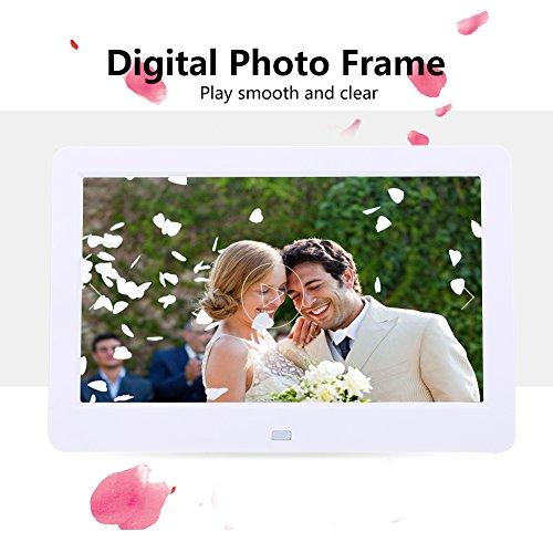 Bilderrahmen, Acouto 10inch Bildschirm 1024X600 Digitaler Bilderrahmen Uhr Musik Video Player mit Fernbedienung(White) (Herzstück Bilderrahmen)