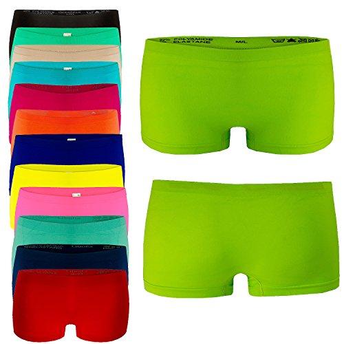 4er Pack Damen Boxershorts Panties in VIELEN VERSCHIEDENEN FARBEN Unterwäsche Hot Pants Neonpink