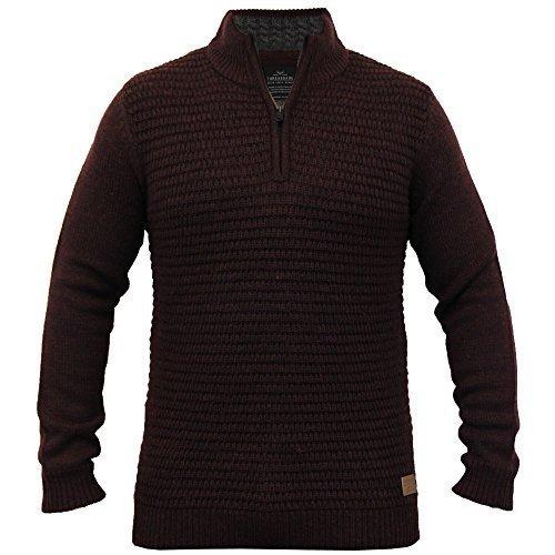Herren Wollmischung Pullover Threadbare Kabel Strickpulli Waffel Reißverschluss Winter Neu Burgund - IMV037PKA