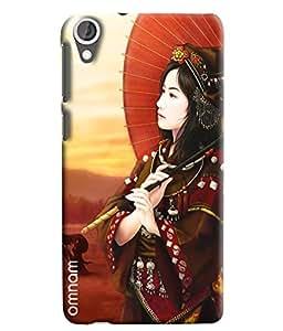 Omnam Japanese Women Having Umbrella In Hand Printed Designer Back Cover Case For HTC Desire 820