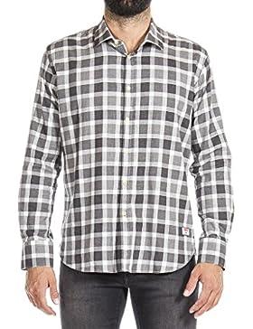 Carrera Jeans - Camisa 209B1288X para hombre, estilo clásico, a cuadros, tejido de hilo, ajustado, manga larga