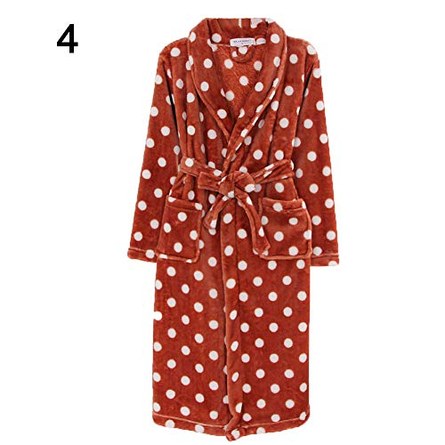 PengyuWomen - Albornoz de manga larga de franela con estampado de lunares, para baño, ropa de dormir...