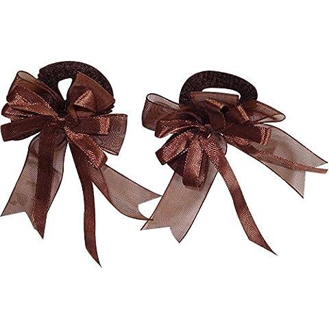 Pair of Small Brown Hair Bow Ribbon Scrunchie Elastics Bobbles Girls Accessories