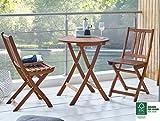 SAM® Conjunto para jardín o balcón, mueble de madera de acacia, 3 piezas, 1 mesa + 2 sillas plegables aceitadas, con vetas muy bonitas, certificadas FSC® 100%.