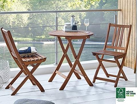 SAM® Gartengruppe Skanderborg, 3tlg., Balkongruppe aus Akazienholz, FSC® 100% zertifiziert, 1 x Tisch + 2 x Stuhl, geölt, Garten-Tischgruppe, schöne Maserung, massives Holz,