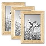 PHOTOLINI 3er Set Bilderrahmen 10x15 cm Kiefer Natur Modern Massivholz-Rahmen mit Glasscheibe und Zubehör/Fotorahmen