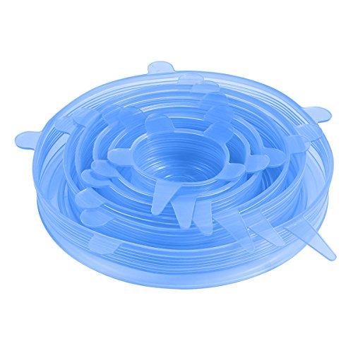 Oria Dehnbare Silikondeckel, 6-teilig BPA-frei strapazierfähig in verschiedenen Größen Silikon Stretch Deckel für Servier Platten, Teller, Gläser, Schalen und Früchte, Spülmaschinen, Mikrowellen -