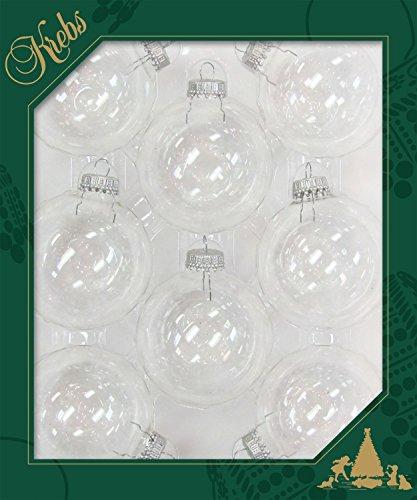 Dekohelden24 ORIGINAL LAUSCHAER Christbaumschmuck - 8er Set Kugeln klar Uni, 6,7 cm, mit silbernem Krönchen + 50 Schnellaufhänger in Silber GRATIS zu Ihrer Bestellung dazu ! -