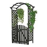 Melko Rosenbogen Torbogen aus Holz mit Tür, 120 x 60 x 206 cm, Extra Breit und groß, Halb-Rund, Schwarz – Ideale Rankhilfe, Pergola für Den Garten
