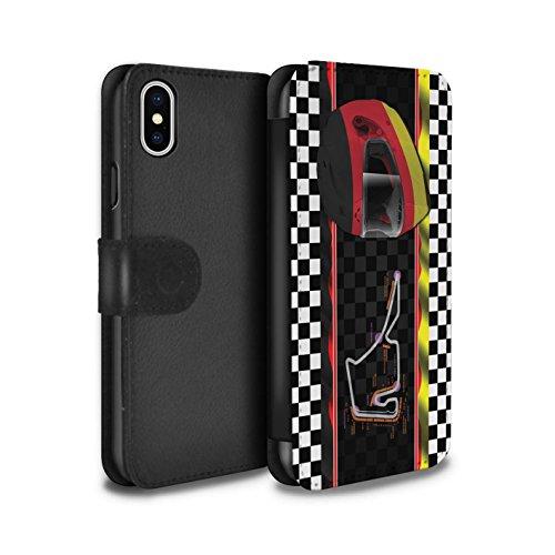 Stuff4 Coque/Etui/Housse Cuir PU Case/Cover pour Apple iPhone X/10 / Brésil/SãoPaulo Design / F1 Piste Drapeau Collection Allemagne