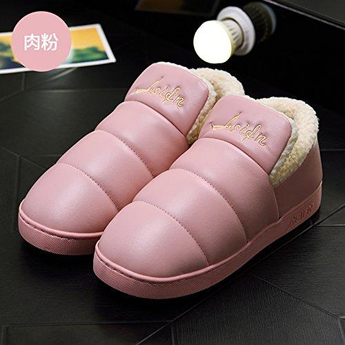 DogHaccd pantofole,Inverno pantofole di cotone morbido pacchetto spessa con un soggiorno interni in pelle impermeabile e antiscivolo per uomini e donne paio di scarpe di cotone Polvere3