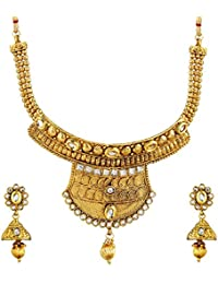 Royal Bling Gold Plated Kundan Pearl Traditional Necklace/Pendant Jewellery Set With Earrings For Women,Girls