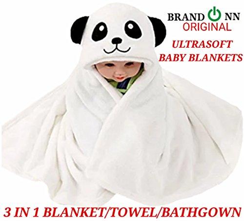 BRANDONN Ultra Soft Organic Premium Bathrobe Cum Bath Gown For Babies Cum Baby Bath Towel(WHITE PANDA)