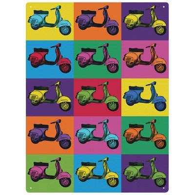 "Giallo Red Hot 300 x 400 mm per quiche / metal ""Scooter Pop Art"" alla parete, multicolore"