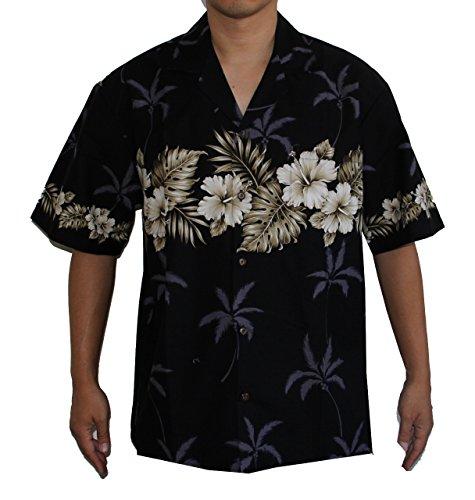 Hibiscus-aloha-shirt Herren (Alohawears Clothing Company Hawaiian Herren Aloha Hemd - Schwarz - Groß)