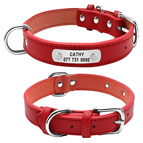 Hykis - PU Leather Dog Collar Durable Padded Personalized Pet ID Collars Customized for Small Medium Large Dogs Cat Red Black Brown [L Red]