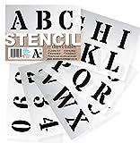 Stencil Plantillas - Plantillas del Alfabeto - 5 cm de altura - Alphabet y Números 0-9, Mayúsculas Roman - en 6 hojas de 200 x 148mm