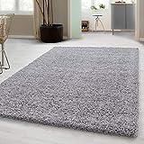 Hochflor Shaggy Teppich für Wohnzimmer Langflor Pflegeleicht Schadsstof geprüft 3 cm Florhöhe Oeko Tex Standarts Teppich, Maße:60x110 cm, Farbe:Hellgrau