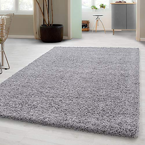 Hochflor Shaggy Teppich für Wohnzimmer Langflor Pflegeleicht Schadsstof geprüft 3 cm Florhöhe Oeko Tex Standarts Teppich, Maße:200x290 cm, Farbe:Hellgrau