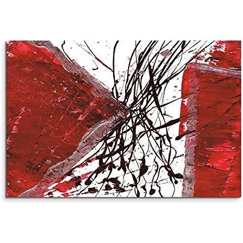 120 x 80 cm Lienzo marco cuadro rojo blanco y negro guiones