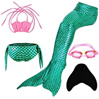 SISHUINIANHUA Mermaid Bkini Chicas Sparkle Mermaid Tail con Mono Fin Swimmable Swimwear 5 Pcs, Green, 140cm