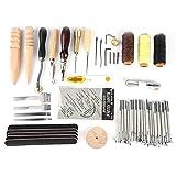 Fdit 59 Stück Leder Handwerk Nähen Werkzeug Hand Nähen Nähen Prong Punch Werkzeuge Sattel Groover Leder Handwerk DIY Werkzeug