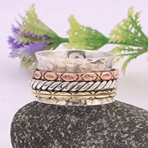 Meditationsringe, Spinnerringe, Silberringe für Frauen, Spinning Ring for Women, Spinner Band Rings, Anxiety Ring for Meditaion, 925 Sterling Silver Band, Brass and Copper Spinner Ring for Women