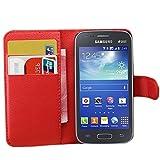 Ycloud Custodia Cover per Samsung Galaxy Ace 3 (4 Pollici) Portafoglio Tasca Book Folding Custodia in Pelle con Supporto di Stand Cover Case Custodia Pelle con Stilo Penna Rosso