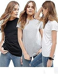 Avaatar Women Half Sleeve T shirt Combo pack of 3 (Grey, White, Black)