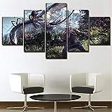 WLHZNB Leinwanddrucke 5 Stücke The Witcher 3 Spiele Hd Leinwand Malerei Dekoration Wandkunst Bild Drucke Poster Größe B (Mit Rahmen)