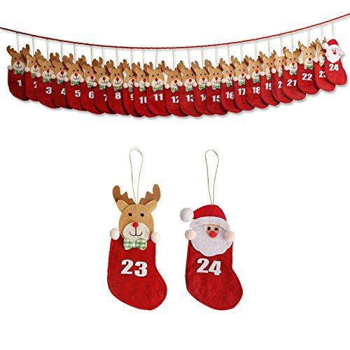 Ornamento appeso natalizio Calendario dell'Avvento Conto alla rovescia per Natale