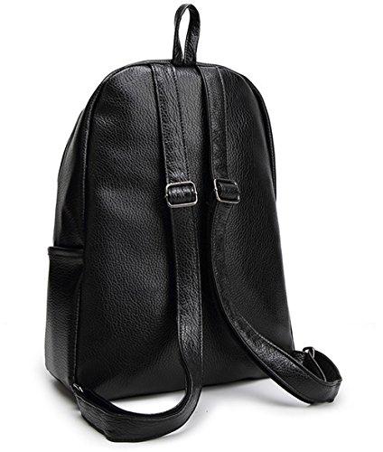 Tibes Zaino Della Scuola Zainetto Pelle Backpack Zaino Ragazza Zaino Donna Nero