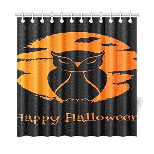 JOCHUAN Wohnkultur Bad Vorhang Halloween Eule Mond Fledermäuse Gute Polyester Wasserdicht Duschvorhang Für Badezimmer, 72X72 Zoll Duschvorhang Haken Enthalten
