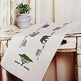 Kamaca Stickpackung Tischdecke Elefanten IN Afrika Kreuzstich vorgezeichnet aus Baumwolle Stickset mit Stickvorlage (Tischläufer 40x100 cm)