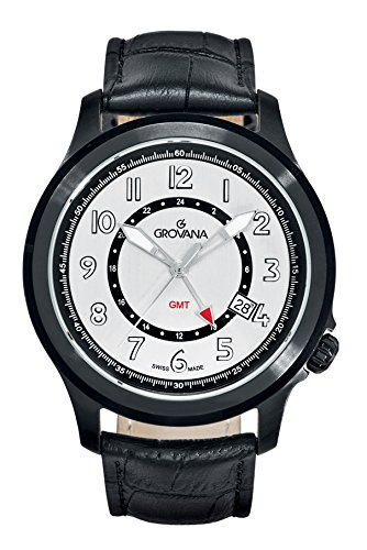 GROVANA 1632.1572 Men's Quartz Swiss Watch with Silver Dial Analogue Display and Black Leather Strap