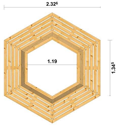 8.8.3238: produziert in Deutschland – grosse Baumbank sechseckig aus Lärchenholz vollmassiv – Baumbank mit Innendurchmesser 119cm - 2