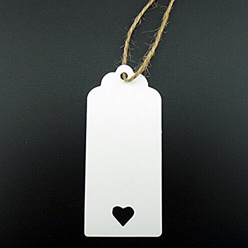 Pixnor 100pcs weiß Kraft Papier Tag leer für Hochzeit Gunst Karten, Gift Tag, DIY-Tag, Kofferanhänger, Preis Label, Store-Hang-Tag mit Herz (Geschenk-karte Pappas)