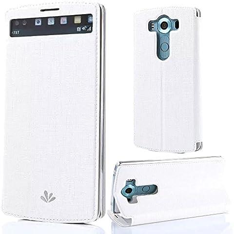 Para LG V10 de 5.7 Pulgadas Funda Inteligente con Ventana Sunroyal® Delgado Libro Flip View Leather Cover Elegante Piel PU Cuero Blanco Funda con Soporte Plegable Para el LG V10 de 5.7 Pulgadas Smartphone