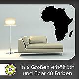 KIWISTAR Land Afrika Silhouette Umriss Kontinent Wandtattoo in 6 Größen - Wandaufkleber Wall Sticker