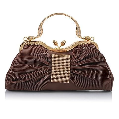 Damara Womens Pleated Satin Bow Handbag Evening Shoulder Bags,Bronze