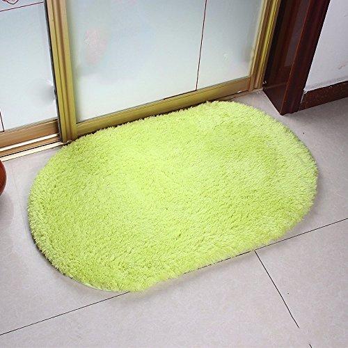 Preisvergleich Produktbild Die lämmer Velours Fußmatten ellipse Bad Fußmatte Wasseraufnahme matten Küche Fußmatte wc Fußbad Teppich, 60 * 140 CM, Hellgrün